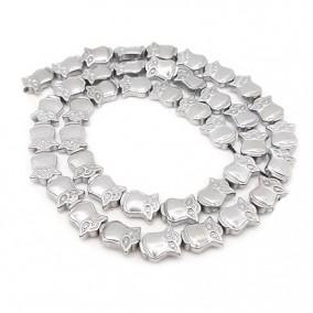 Margele hematite bufnita argintie 10x8mm (10 margele)