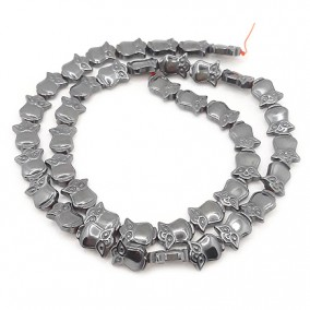 Margele hematite bufnita gri 10x8mm (10 margele)