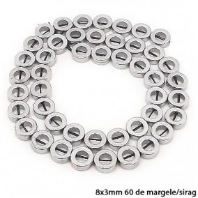 Margele hematite cerc argintiu inchis 8x3mm sirag 38cm