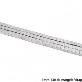 Margele hematite cub argintiu 3mm sirag 38cm