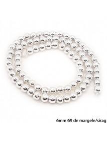 Margele hematite sfere lucioase nefatetate alb argintiu 6mm sirag 38cm