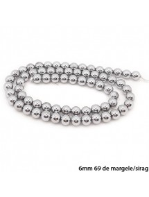 Margele hematite sfere lucioase nefatetate argintiu inchis 6mm sirag 38cm