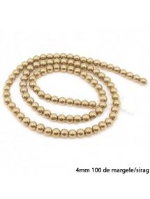 Margele hematite sfere lucioase nefatetate aurii 4mm sirag 38cm