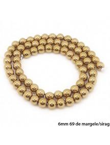Margele hematite sfere lucioase nefatetate aurii 6mm sirag 38cm