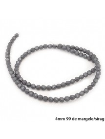 Margele hematite sfere mate fatetate gri 4mm sirag 38cm
