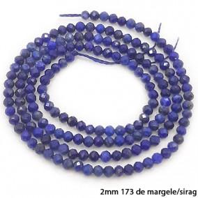 Lapis lazuli sferic fatetat 2mm margele sirag 38cm
