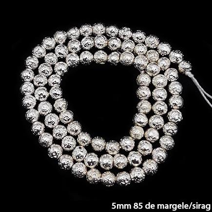 Margele lava electroplacata alb argintiu 5mm sirag 38cm