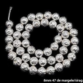 Margele lava electroplacata alb argintiu 8mm sirag 38cm