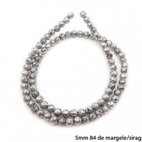 Margele lava electroplacata argintiu mica 5mm sirag 38cm