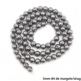Margele lava electroplacata gri grafit 5mm sirag 38cm