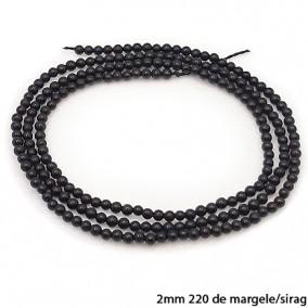 Onix lucios nefatetat sferic 2mm margele sirag 38cm