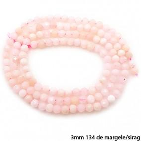 Opal roz sferic fatetat 3mm margele sirag 38cm