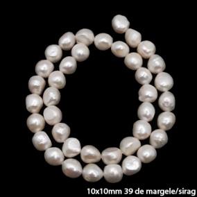 Margele perle de cultura albe ovale neuniforme 10x10mm sirag 40cm