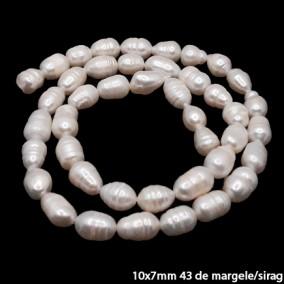 Margele perle de cultura albe ovale neuniforme 10x7mm sirag 42cm