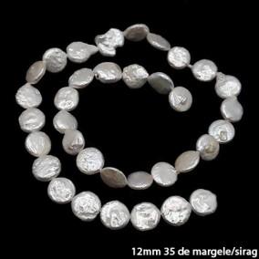 Margele perle de cultura albe rotunde plate 12mm sirag 45cm