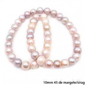 Margele perle de cultura lila sferice usor neuniforme 10mm sirag 40cm