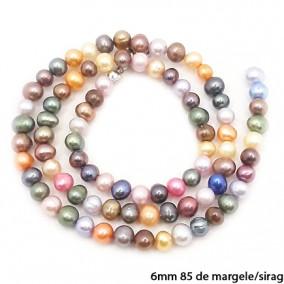Margele perle de cultura multicolore sferice neuniforme 6mm sirag 45cm