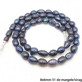 Margele perle de cultura negru irizat ovale neuniforme 8x6mm sirag 40cm