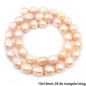Margele perle de cultura roz ovale neuniforme 10x10mm sirag 40cm