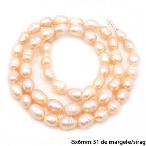 Margele perle de cultura roz ovale neuniforme 8x6mm sirag 40cm