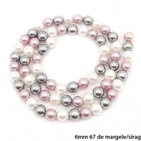 Margele perle tip Majorica alb gri lavanda 6mm sirag 40cm