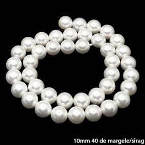 Margele perle tip Majorica albe 10mm sirag 40cm