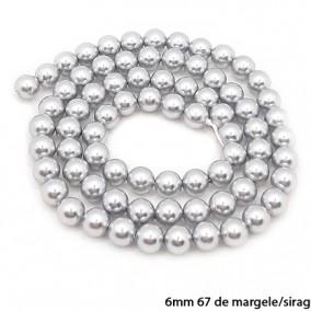 Margele perle tip Majorica argintii 6mm sirag 40cm