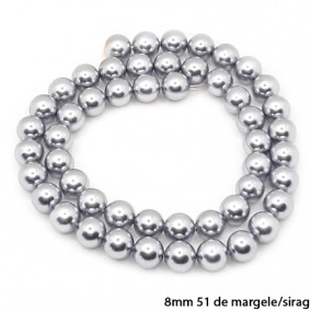 Margele perle tip Majorica argintii 8mm sirag 40cm
