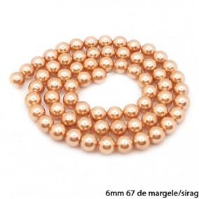 Margele perle tip Majorica bej auriu 6mm sirag 40cm