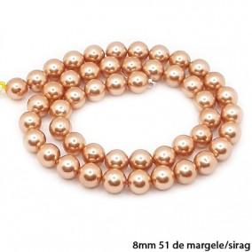 Margele perle tip Majorica bej auriu 8mm sirag 40cm