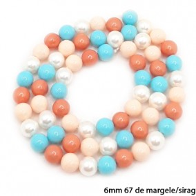 Margele perle tip Majorica bleu somon corai alb 6mm sirag 40cm