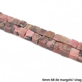 Rodonit negru lucios nefatetat cub 6mm margele sirag 40cm