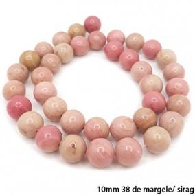 Rodonit roz lucios nefatetat sferic 10mm margele sirag 40cm