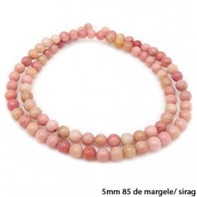 Rodonit roz lucios nefatetat sferic 5mm margele sirag 40cm