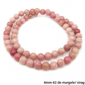 Rodonit roz lucios nefatetat sferic 6mm margele sirag 40cm