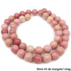 Rodonit roz lucios nefatetat sferic 9mm margele sirag 40cm