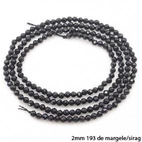 Spinel negru sferic fatetat 2mm margele sirag 38cm