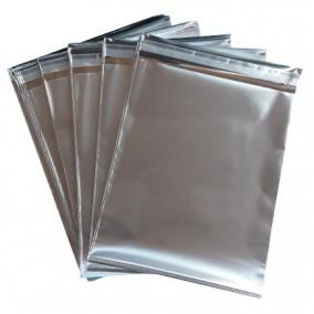 Pungi plic adeziv set argintiu mat 15x12cm