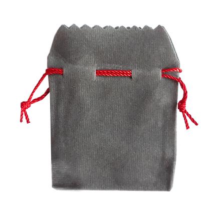 Saculet cadou catifea gri siret rosu 8x6cm