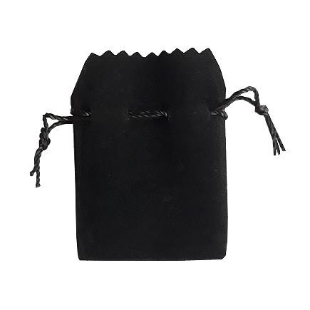 Saculet cadou catifea neagra siret negru 8x6cm