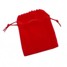 Saculet cadou catifea rosie siret rosu 8x6cm