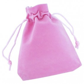 Saculet catifea roz snur poliester 12x10cm