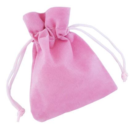 Saculet catifea roz snur poliester 9x7cm