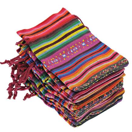 Saculeti panza model etnic multicolori 13x9cm