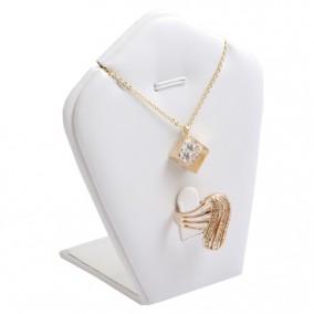 Suport piele ecologica alb expunere set bijuterii 18x8x5cm