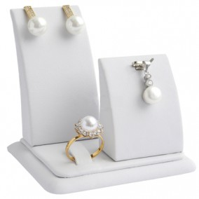 Suport piele ecologica alb expunere set bijuterii 8x8x6cm