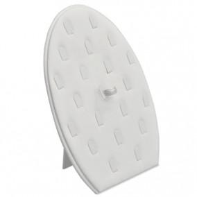 Suport piele ecologica alb oval vertical expunere 21 inele 27x18cm