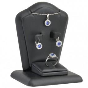 Suport piele ecologica negru expunere set bijuterii 11x8x7cm