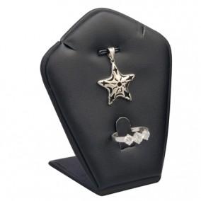 Suport piele ecologica negru expunere set bijuterii 18x8x5cm