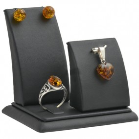 Suport piele ecologica negru expunere set bijuterii 8x8x6cm